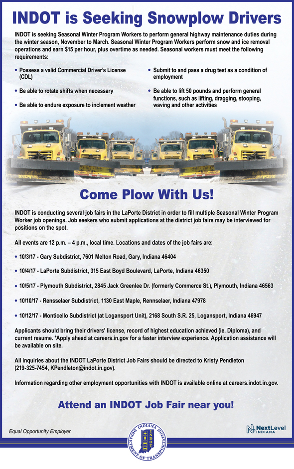 Indot seasonal winter program worker job fair cass for Jobs in laporte co