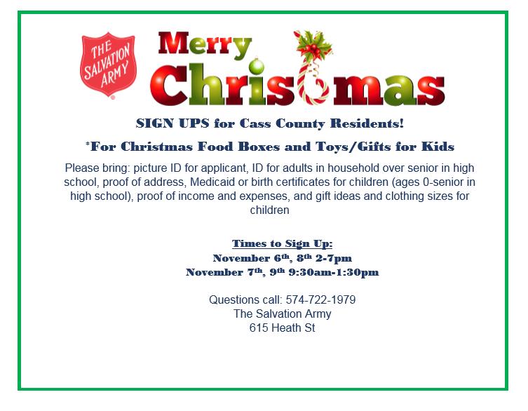Christmas Assistance Sign-Ups - Cass County Calendar