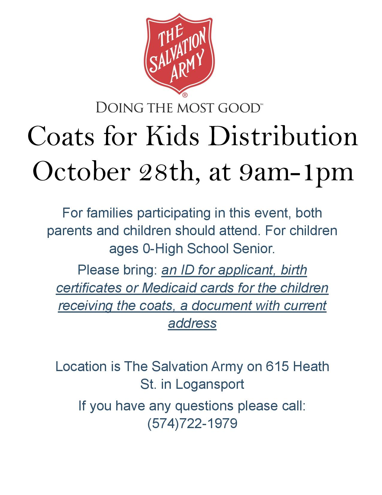 Coats for kids distribution fulton county calendar location is the salvation army 615 heath st logansport if you have questions please call 574 722 1979 aiddatafo Gallery
